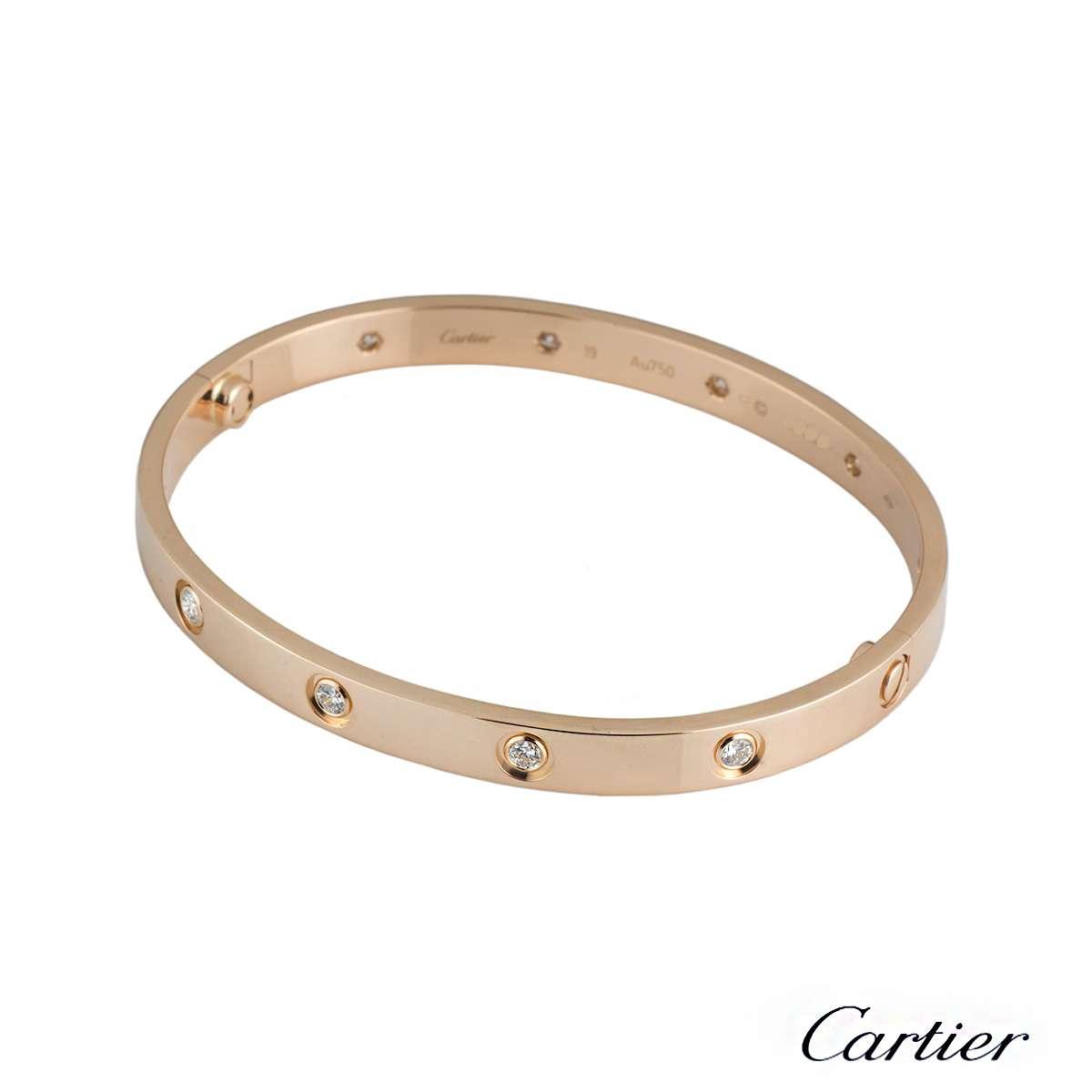 cartier rose gold full diamond love bracelet size 19 bampp